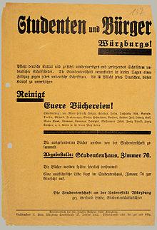"""Aufruf der Studentenschaft der Universität Würzburg, die privaten Bibliotheken von """"undeutschem Schrifttum"""" zu reinigen. (Flugblatt vom April 1933)"""