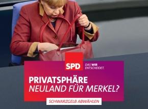 """SPD Motiv """"Privatsphäre - Neuland für Merkel?"""""""
