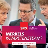 Kompetenzteam: Schattenkabinett der Angela Merkel.  SPD-Wahlplakat: Merkels Kompetenzteam und Deutschland hat gewählt